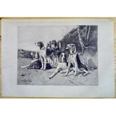 CHIENS DE CHASSE, GRAVURE Signée L.QUARANTE, d'après Charles HERRMAN-LÉON (1838-