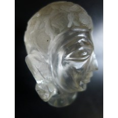 CHINE OU ASIE, TETE DE BOUDDHA EN CRISTAL DE ROCHE.CHINA,ASIA, HEAD OF CRYSTAL