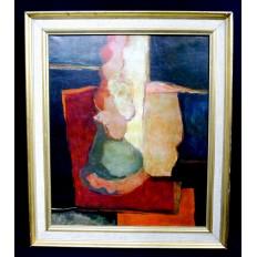 Claude GAVEAU (né en 1940), COMPOSITION ABSTRAITE, HUILE SUR TOILE.ABSTRACT ART.