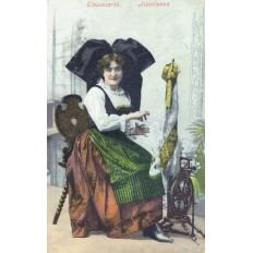 CPA - ALSACE - Alsacienne Au Rouet - Colorisée - Année 1908