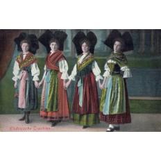 CPA - ALSACE - Alsaciennes En Tenues Traditionnelles - Colorisée - Année 1918