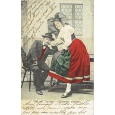 CPA - ALSACE - Costumes Alsaciens - Colorisée - Années 1900