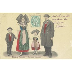 CPA - ALSACE - Costumes Alsaciens - Colorisée - Années 1920