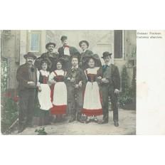 CPA - ALSACE - Costumes Traditionnels Alsaciens - Colorisée - Années 1900