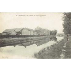 CPA - BOUROGNE - Le Canal & Les Ecoles (Ambulance) - Année 1918