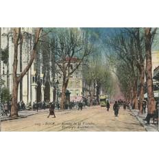 CPA - NICE, Avenue de la Victoire (couleurs), vers 1900.