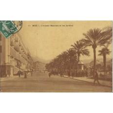 CPA - NICE, AVENUE MASSENA ET JARDINS vers 1900.