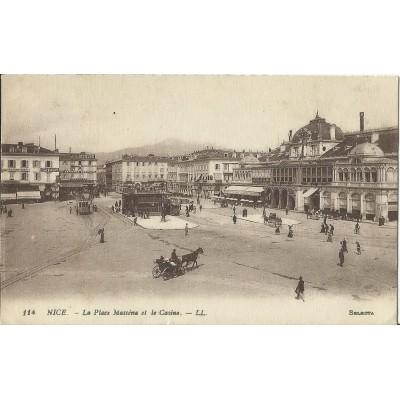 CARTE POSTALE LA PLACE MASSENA ET LE CASINO EN 1900