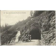 CPA: ROUTE DE LA GIETTAZ (Les tunnels et la cascade). Années 1910.