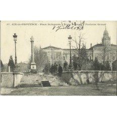 CPA: AIX-EN-PROVENCE,PLACE BELLEGARDE, ECOLE NORMALE, FONTAINE, ANNEES 1900.