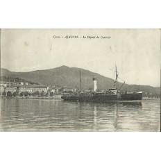 CPA: CORSE, AJACCIO, LE DEPART DU COURRIER, ANNEES 1910.
