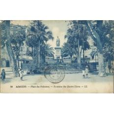CPA: CORSE, AJACCIO, PLACE DES PALMIERS, FONTAINE DES QUATRE LIONS ANNEES 1920.