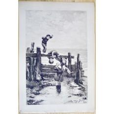Daniel Charles Marie MORDANT (1853-1914), GRAVURE, ENFANTS JOUANT EN BORD DE MER