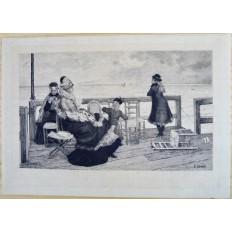 Félix Augustin MILIUS (1843-1894), GRAVURE, FEMMES ET JEUNES FILLES BORD DE MER