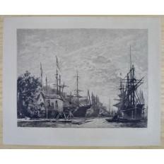 GRAVURE deTh.CHAUVEL (1831-1910) d'apr.JONGKIND.LA MEUSE, PAYS-BAS. NETHERLANDS