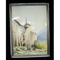Jean-Baptiste A. GIBERT (1803-1889), AQUARELLE, PAYSAGE,ENVIRONS DE ROME, ITALIA