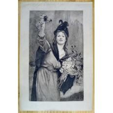 JEUNE FEMME ANGLAISE AUX FLEURS, GRAVURE signée Mme CONSUELO-FOULD (1862-1927.)