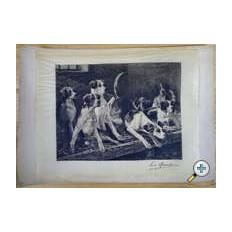 Lucien QUARANTE, GRAVURE, CHIENS DE CHASSE DANS LE CHENIL, d'ap.Ch.HERMANN LEON