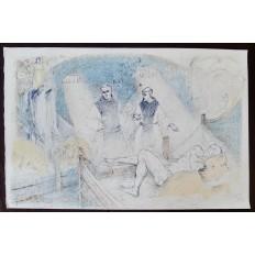 Lucien-Philippe MORETTI (1922-2000) LITHOGRAPHIE, LA PORCHERIE, LES MOINES.