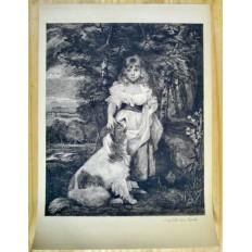 Léon SALLES (1868-1950), GRAVURE, JEUNE FILLE ET SON CHIEN, d'après J.REYNOLDS.