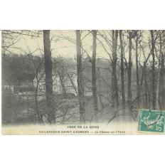 CPA - VILLENEUVE ST GEORGES - Le Château Sur L'Yerre Crue De La Seine- Vers 1910
