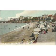 CARTE POSTALE ANCIENNE: PARAME. La Plage à Rochebonne (couleurs), Années 1900