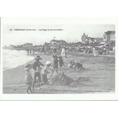 AGRANDISSEMENT CPA 1900: PORNICHET, LA PLAGE ET SON ANIMATION