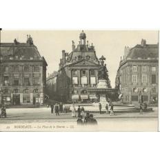 CPA: BORDEAUX, La Place de la Bourse, vers 1900
