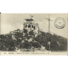 CPA: LOURDES, Sommet du Pic du Jer, l'Observatoire et la Croix, vers 1900