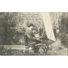 *CARTE POSTALE vers 1900, LE PAYSAGISTE AU TRAVAIL.