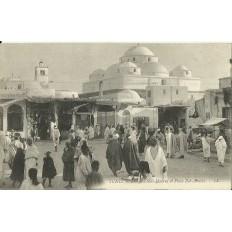 *CPA TUNISIE, vers 1900, TUNIS, MOSQUEE SIDI-MAHREZ ET PLACE BAB-SOUIKA.