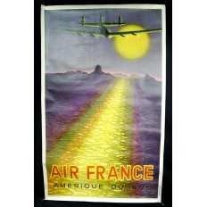 V.VASARELY, AFFICHE AIR FRANCE ORIGINALE 1949, AMERIQUE DU SUD.
