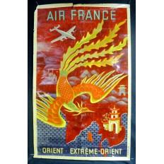 Lucien BOUCHER, AFFICHE AIR FRANCE ORIGINALE 1949, ORIENT / EXTREME-ORIENT