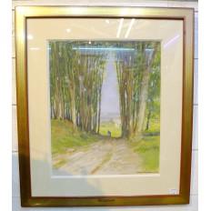 Henry Maurice CAHOURS (1889-1974), BRETONNE SUR LE CHEMIN, AQUARELLE