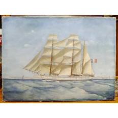 """LE 3 MATS """"DARTAGNAN"""" arrivant à MARSEILLE, HUILE SUR TOILE, 1881"""