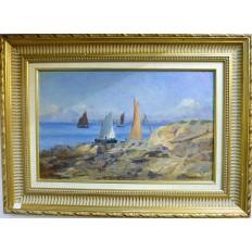 Narcisse CHAILLOU (1837-1916), BATEAUX SUR LA COTE, HUILE/CARTON, BRETAGNE.