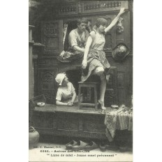"""CPA: BRETAGNE, Autour des LITS-CLOS """" Lune de Miel..."""", vers 1920"""