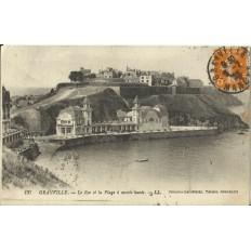 CPA: GRANVILLE, Le Roc et la Plage à Marée Haute, vers 1920