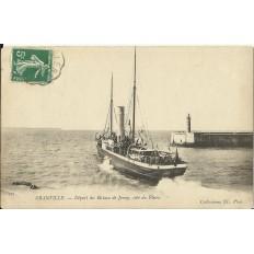 CPA: GRANVILLE, Départ du Bateau de Jersey, coté du Phare, vers 1900