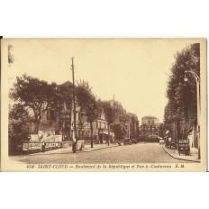 CPA: SAINT-CLOUD, Bvd de la République et rue Coutureau, vers 1930