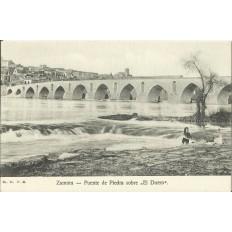 CPA: ZAMORA, Puente de Piedra sobre El Duero, années / anos 1910