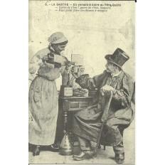 CPA: (REPRO). SARTHE, En versant à boire au Père Quéru, vers 1900.