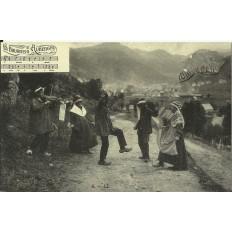 CPA: (REPRO). AUVERGNE, La Bourrée, vers 1900.