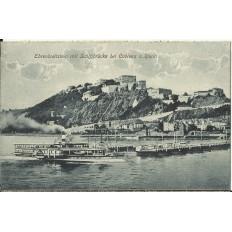 CPA: ALLEMAGNE, Ehrenbreitstein mit Schiffbrucke bei Coblenz a.Rhein, jahre1920