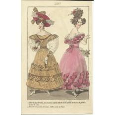 GRAVURE XIXe s. MODE / FASHION, COSTUMES, an 1829. (5)