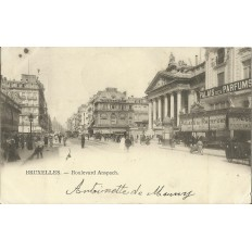 CPA: BELGIQUE, BRUXELLES, Boulevard Anspach, vers 1900