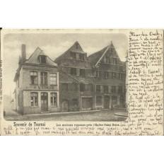 CPA: BELGIQUE, TOURNAI, Les Maisons Romanes, vers 1900