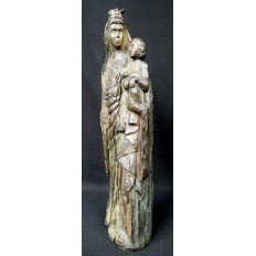 VIERGE COURONNEE A L'ENFANT, Bois, XV / XVIe s.CROWN VIRGIN with CHILD, wood.