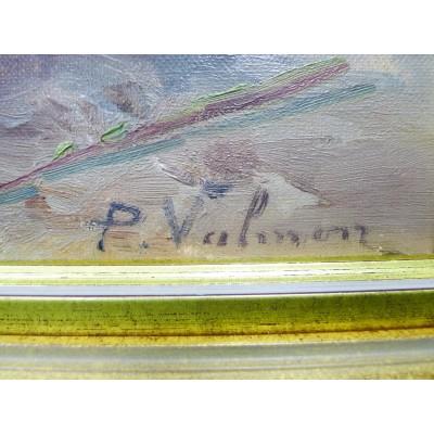 P. VALMON (XIX-XX), CORBEILLE DE FLEURS, HUILE SUR TOILE.