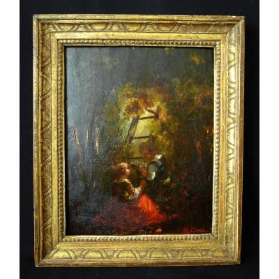 marius cival 1817 1870 peintre marseillais offrande de fleurs huile sur panneau. Black Bedroom Furniture Sets. Home Design Ideas